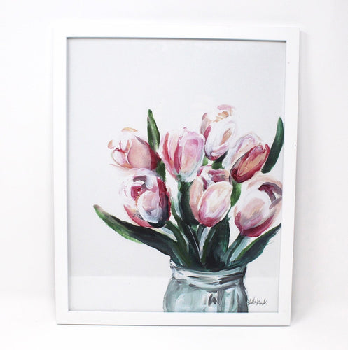 Blush Tulips Art Print, 11x14 in, Simple Elegant Art, Home Decor, Floral Artwork, Flower Design