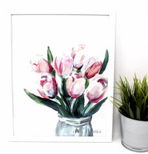 Load image into Gallery viewer, Blush Tulips Art Print, 11x14 in, Simple Elegant Art, Home Decor, Floral Artwork, Flower Design