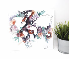 Load image into Gallery viewer, Watercolor Floral World Art Print, 12inx12in, Travel Art, Map Art, Home Decor
