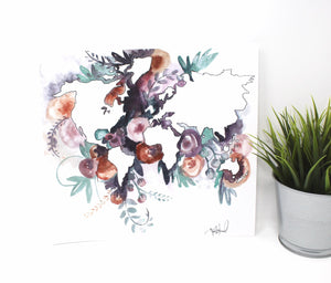 Watercolor Floral World Art Print, 12inx12in, Travel Art, Map Art, Home Decor