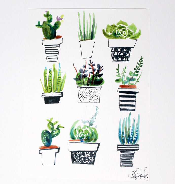 Succulents Art Print 8x10 in, Plant Art, Home Decor, Wall Art