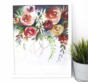 Fun Floral Art Print- 11x14 in, Watercolor painting, Simple Design, Home Decor