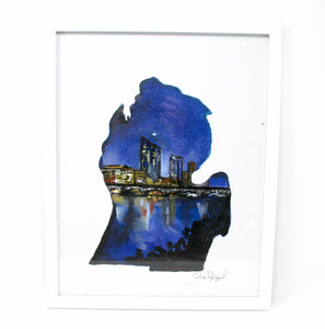 11x14 Art Print of the Grand Rapids Evening Skyline