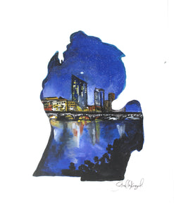 Grand Rapids Mitten Art Print- 11x14, Michigan Artwork, State Pride, Cityscape
