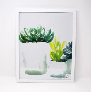 Succulent Art Print (4) on 11x14 Paper, Wall Art, Home Decor, Botanical Art