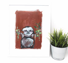 Load image into Gallery viewer, Chill Sloth Art Print, 11x14, Animal Art, Nursery Wall Decor, Baby Room, Sloth Artwork