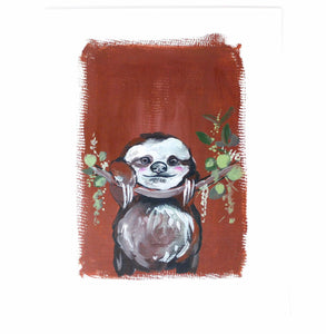 Chill Sloth Art Print, 11x14, Animal Art, Nursery Wall Decor, Baby Room, Sloth Artwork