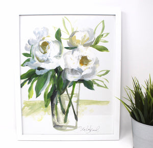 White Floral Art Print ,11x14 in, Simple Design, Floral Art, Home Decor, Flower Artwork