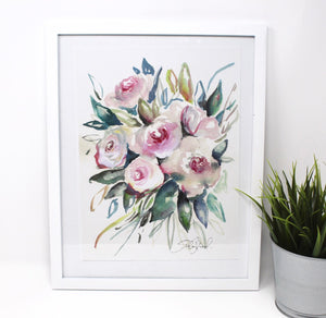 Blue And Pink Floral Art Print -8x10in, Simple Design, Flower Art, Home Decor
