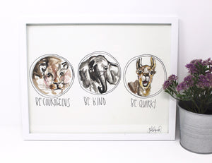 Be Kind, Be Courageous, Be Quirky Art Print -11x14 in, Animal Art, Baby Room Decor, Nursery Wall Art, Lion, Elephant and Llama