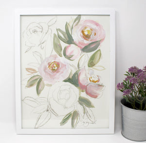 Blush Light Rose Art Print- 11x14in, Simple Design, Home Decor, Wall Art, Floral Artwork