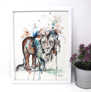 Lion Mixed Media Art Print 11x14 in, Animal Art, Baby and Nursery Decor