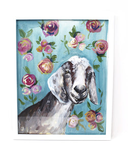 Floral Goat Art Print 11x14in, Animal Art, Floral Print, Farmhouse, Nursery Artwork