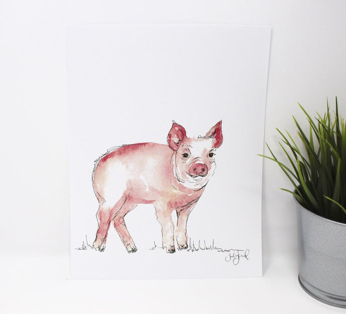 Simple, Little Pig Art Print, 8x10in, Home Decor, Farm Art, Animal Art