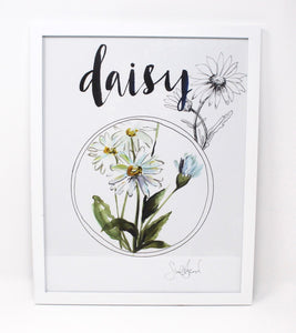 Daisy Art Print, 11x14in, Simple Design, Wall Art, Home Decor, Floral Artwork