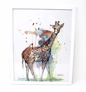 Mixed Media Giraffe Art Print -11x14in, Safari Animal Art, Home Decor, Nursery Wall Art