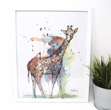 Load image into Gallery viewer, Mixed Media Giraffe Art Print -11x14in, Safari Animal Art, Home Decor, Nursery Wall Art