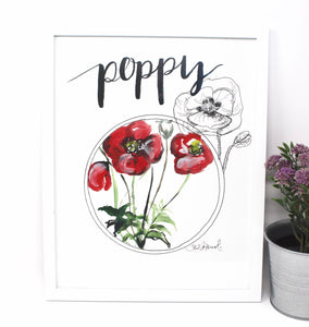 Poppy Art Print- 11x14in, Flower Art, Simple Design, Home Decor, Wall Artwork