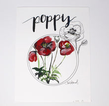 Load image into Gallery viewer, Poppy Art Print- 11x14in, Flower Art, Simple Design, Home Decor, Wall Artwork