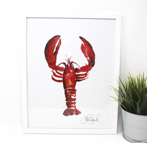 Lobster Art Print- 11x14, Animal Art, Home Decor, Wall Art, Simple