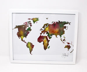 Earthy World Art Print- 11x14 in, Travel Art, Map Artwork, Watercolor Painting, Simple Design