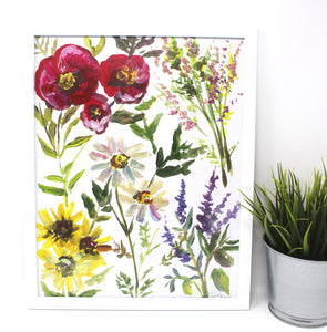 Wildflower Art Print -11x14in, Floral Art, Watercolor Artwork, Home Decor