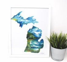 Load image into Gallery viewer, Lake Michigan Art Print- 11x14in, Watercolor Artwork, Home Decor, Michigan Art, Coastal Wall Art