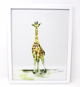 Baby Giraffe Art Print- 11x14in, Nursery Wall Art, Baby Home Decor, Animal Artwork
