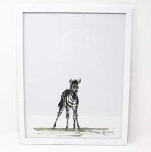 Baby Zebra Art Print- 11x14, Animal Art, Safari Animals, Home Decor, Nursery Wall Art