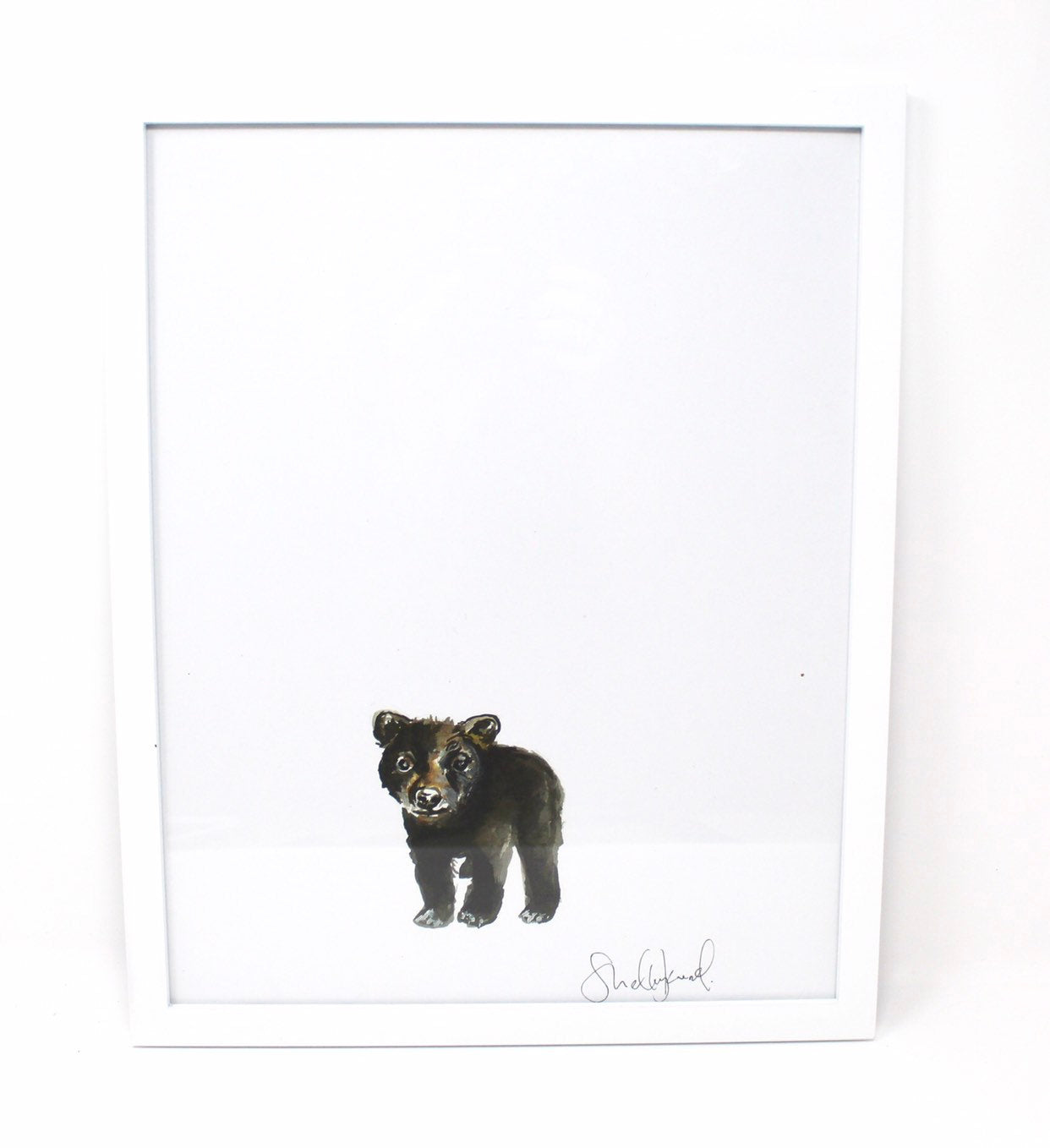Baby Black Bear Art Print- 24x24in, Animal Art, Nursery Artwork, Baby Room  Wall Decor, Simple Design