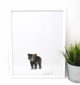 Baby Black Bear Art Print- 11x14in, Animal Art, Nursery Artwork, Baby Room Wall Decor, Simple Design