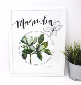 Magnolia Art Print 11x14, Home Decor, Wall Artwork, Simple Design