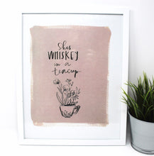 Load image into Gallery viewer, She's Whiskey In A Teacup Art Print! (11x14in or without white border 8x10in), Quote Art, Simple Design, Kids Room Art, Home Decor