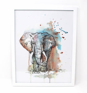 Mixed Media Elephant Art Print, 11x14in, Animal Art, Home Decor, Nursery Artwork