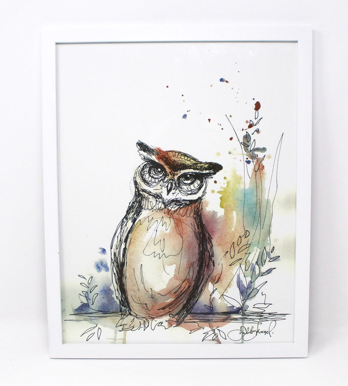 Owl Mixed Media Art Print, 11x14 in, Animal Art, Home Decor, Nursery Art