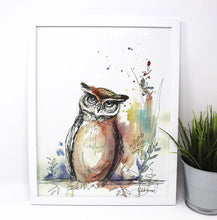 Load image into Gallery viewer, Owl Mixed Media Art Print, 11x14 in, Animal Art, Home Decor, Nursery Art
