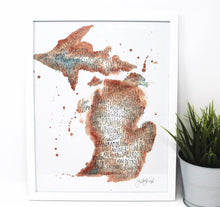 Load image into Gallery viewer, Michigan City Art Print 11x14in, Home Decor, Mitten Love, City Artwork