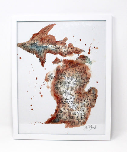 Michigan City Art Print 11x14in, Home Decor, Mitten Love, City Artwork