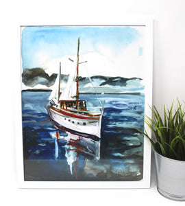 Come Sail Away Art Print- 11x14, Sailboat, Nautical Art, Coastal Artwork, Home Decor, Sailing