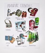 Load image into Gallery viewer, Adventure Essentials Art Print 11x14in, Home Decor, Travel Art, Wall Artwork