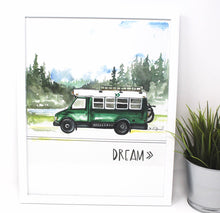 Load image into Gallery viewer, Dream Bus Life Art Print, 11x14in, Adventure Art, Home Decor, Vanlife Artwork