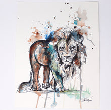Load image into Gallery viewer, Lion Mixed Media Art Print 11x14 in, Animal Art, Baby and Nursery Decor