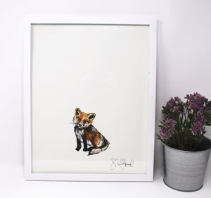 Baby Fox Art Print -11x14in, Simple Design, Animal Art, Nursery Wall Art, Baby Room Artwork
