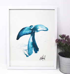 Whale Art Print- 11x14in, Coastal Art, Ocean Art, Whale Tail, Simple