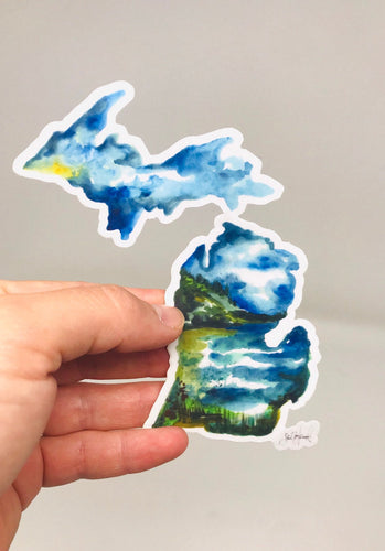 Michigan Lakes Watercolor Sticker/Decal! (3.5inx3.5in) Weather Resistant, Durable Vinyl Sticker