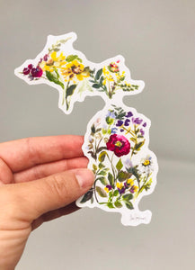 Michigan Floral Sticker!! (3.5inx3.5in) Durable, Weather Resistant, Vinyl Stickers