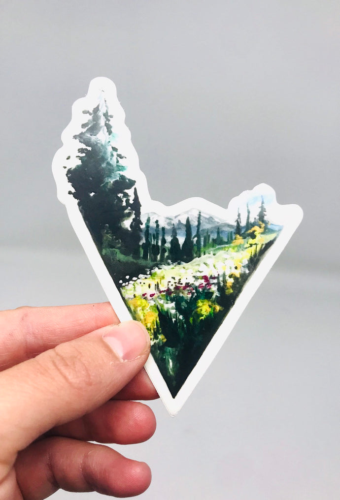 Triangle Mountain Sticker/Decal (3.5inx3.5in) Weather Resistant, Durable Vinyl Sticker