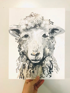 Sheep print! Home decor art print sheep painting 11x14in