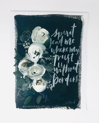 Spirit lead me print- 11x14 in simple black artwork home decor