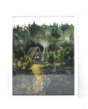 Load image into Gallery viewer, Cozy Cabin Print 11x14 Adventure Print Home Decor Cabin Watercolor Inspirational Wall Art